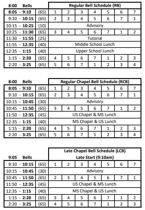 bell schedules 2021-2022